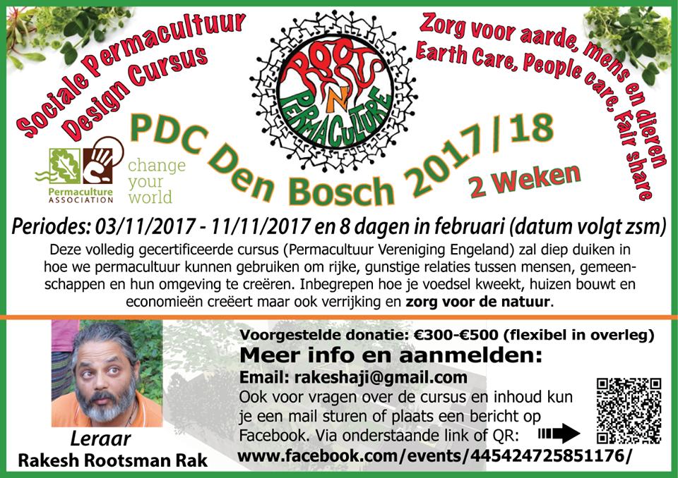 flyer voor permacultuur training in den bosch november 2017